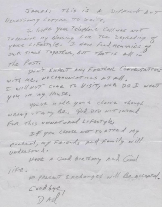 Huffpost article father's letter disowning gay son
