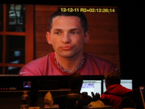 Broderick Fox on the big screen at the final sound mix of THE SKIN I'M IN