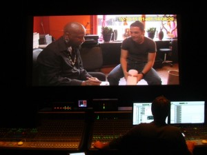 A shot from our final sound mix: Brody meets tattoo artist Zulu for the first time in THE SKIN I'M IN