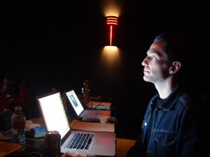 Director Broderick Fox at the final mix session for THE SKIN I'M IN, along with sound designer Scott Johnson.