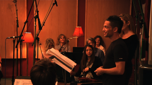Director Broderick Fox addresses musicians at the scoring session for THE SKIN I'M IN